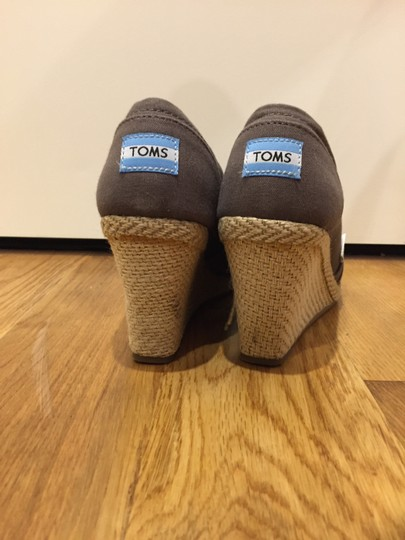 TOMS Canvas Rope Cork Open Toe Gray Wedges