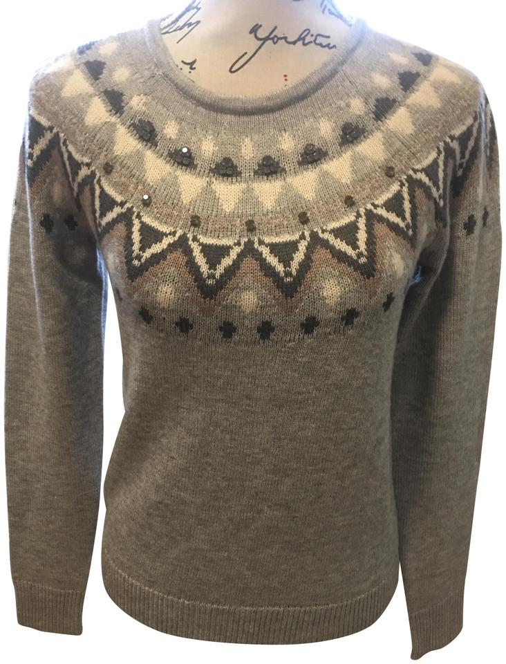 ann taylor gray navy fair isle style 358873 sweater pullover size 4 s tradesy. Black Bedroom Furniture Sets. Home Design Ideas
