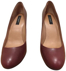 Ann Taylor Round Toe Leather Heels Red Lacquer Pumps