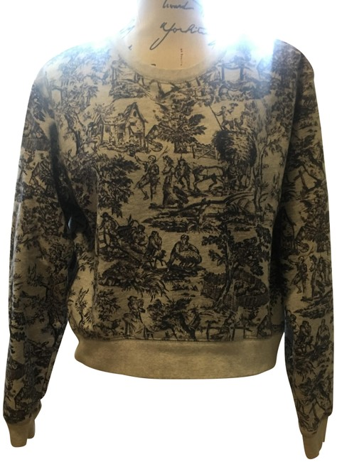 J.Crew Sweatshirt Cropped Background Toile Patterned Sweater Image 0