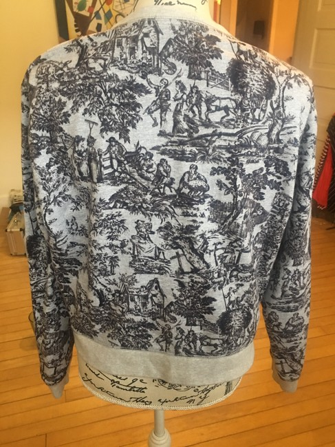 J.Crew Sweatshirt Cropped Background Toile Patterned Sweater Image 1