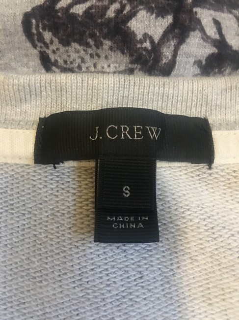 J.Crew Sweatshirt Cropped Background Toile Patterned Sweater Image 4