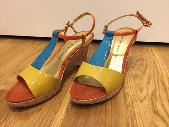 Chinese Laundry Patent Cork Combo Ankle Strap Three Tones Wedges