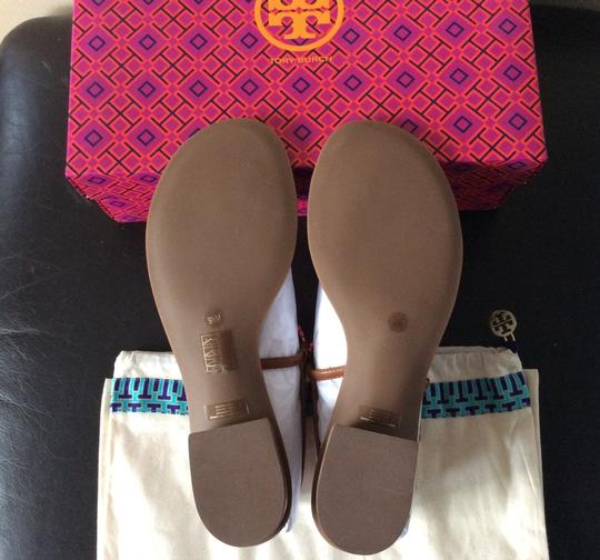 Tory Burch Gemnini Links T-strap Leather Royal Tan Sandals