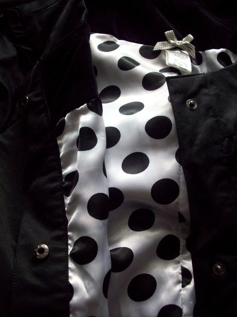 Forever 21 Ruffle Collar Belted Pea Coat 3/4 Sleeves Polka Dot Lining Trench Coat Black Jacket