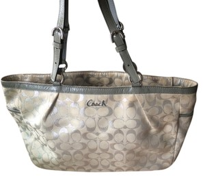 Coach Tote in Silver/ivory
