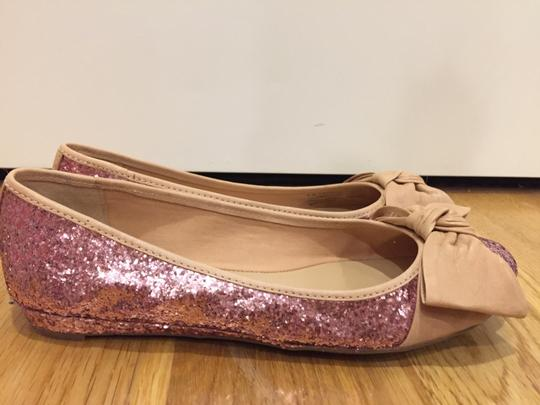 Franco Sarto Glitter Bows Pink and Tan Flats