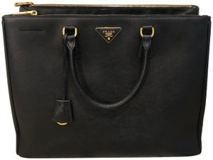 d79119ee1703 Added to Shopping Bag. Prada Leather Designer Tote in Black. Prada Double  Lux Saffiano Extra Large Zip ...