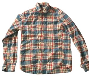 J.Crew Top flannel red white and blue
