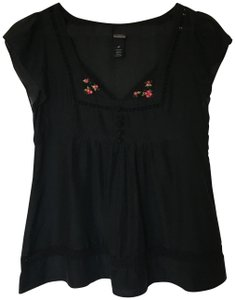 Anthropologie Lace Embroidered Top Black
