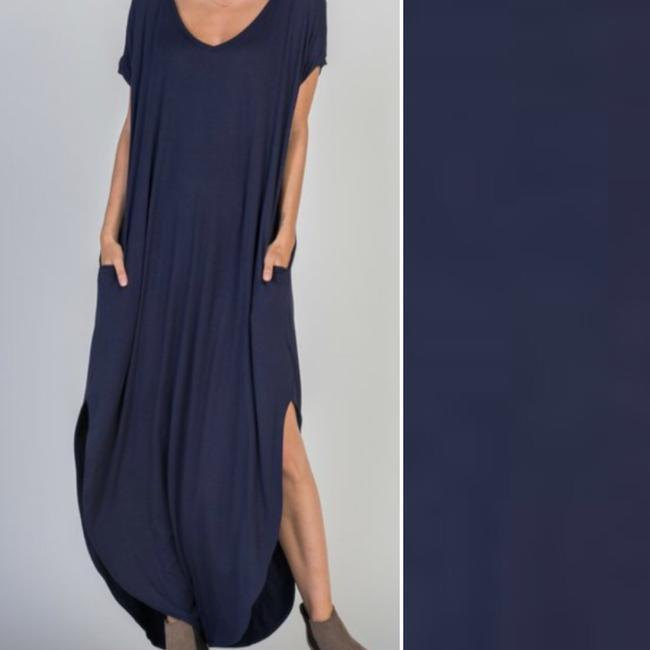 Navy Maxi Dress by None With Pockets V Neck Blue