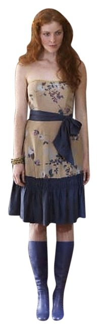 Preload https://item2.tradesy.com/images/anthropologie-cotton-silk-strapless-a-line-dress-brown-and-navy-2242716-0-0.jpg?width=400&height=650