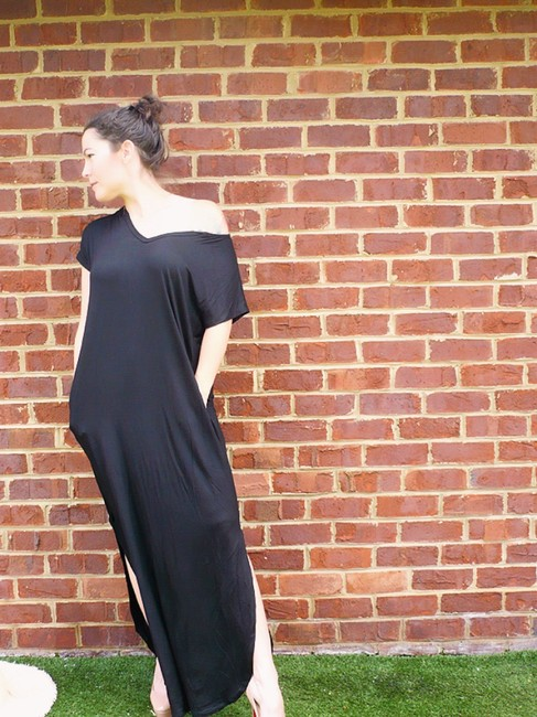Navy Maxi Dress by None Blue With Pockets Slits