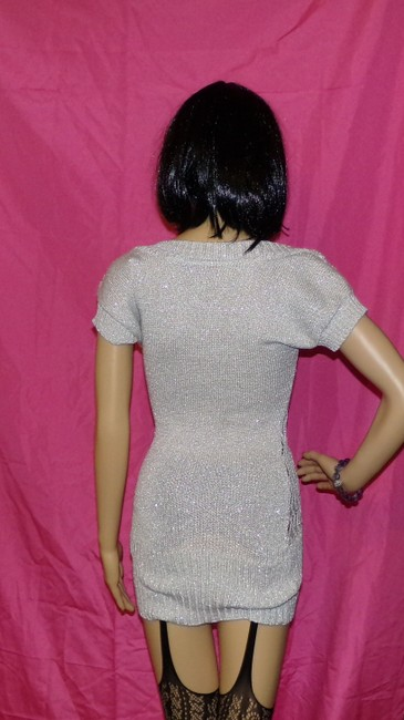 Kouture by Kimora Stretch Dress High Fashion Top Gray with Silver Metallic Thread