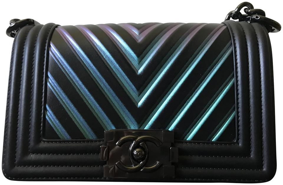 75f73dde09a629 Chanel Boy Painted Chevron Iridescent Calfskin Small Black Leather ...