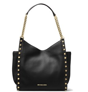 Michael Kors Studded Newbury Pebbled Leather Chain Tote Shoulder Bag
