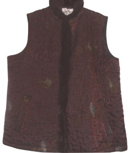 Chico's Sleeveless Fur Trim Functional Quilted Vest