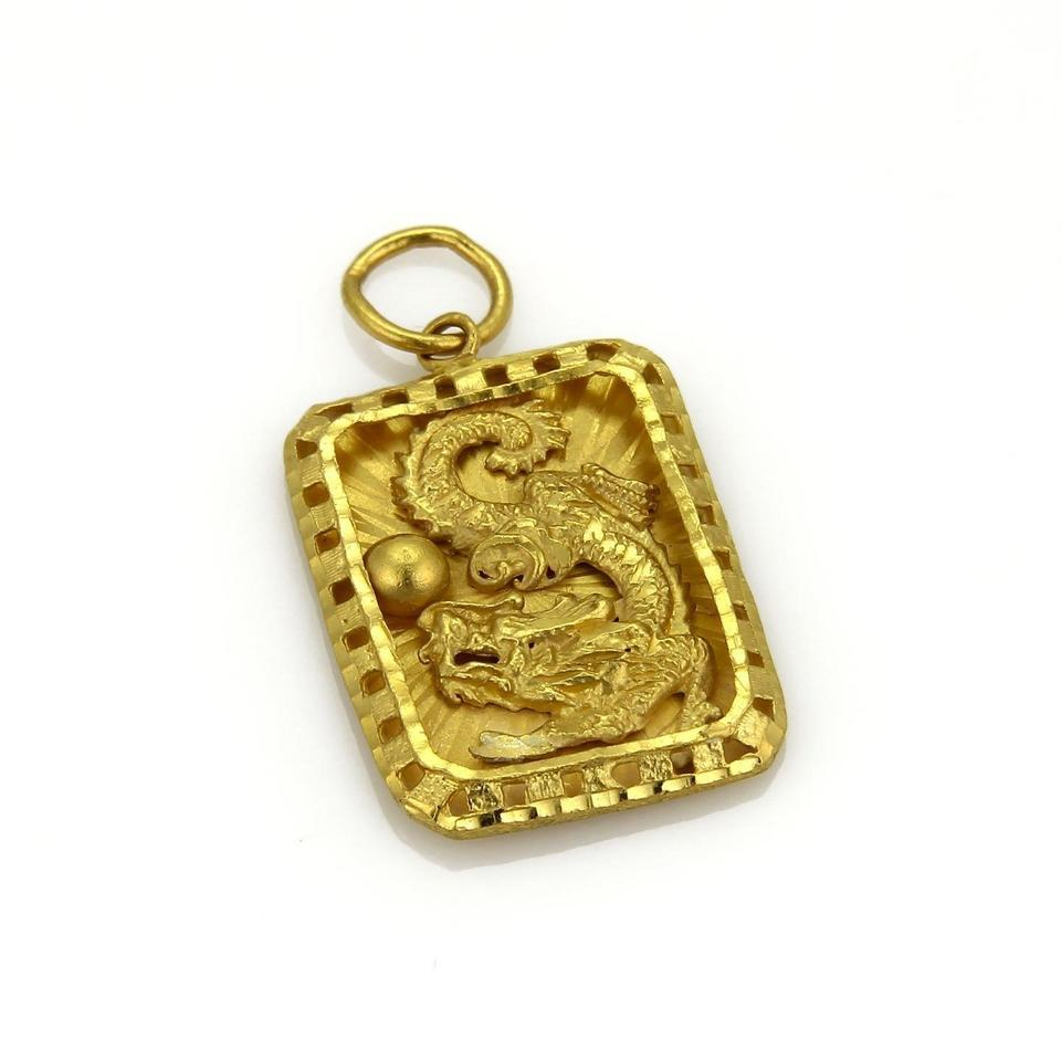 20179 rectangular shape 24k gold dragon pendant charm tradesy other rectangular shape 24k gold dragon pendant aloadofball Images
