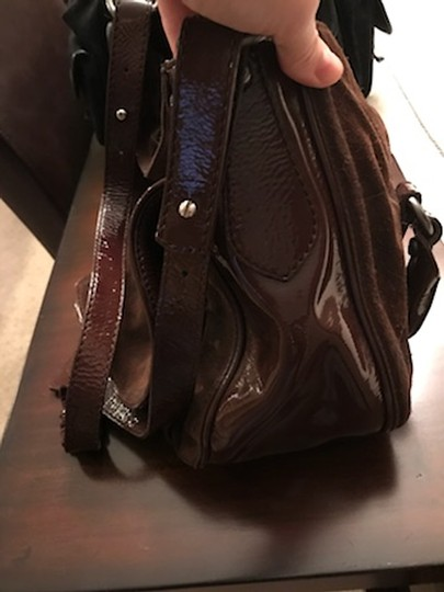 Francesco Biasia Suede Patent Leather Purse Shoulder Bag