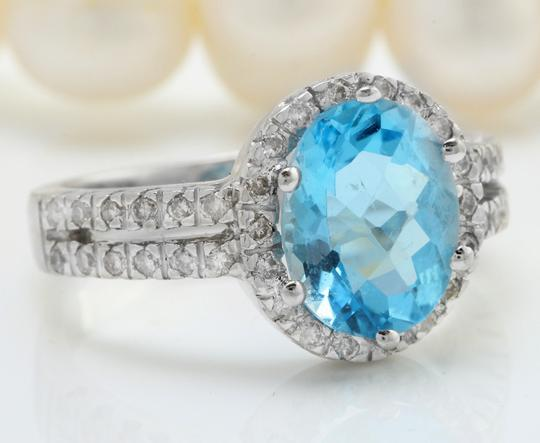Other 3.34 CTW Natural Blue Swiss Topaz and Diamonds in 14K Solid White Gold