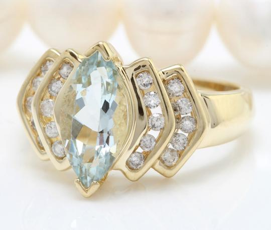 Other 2.00CTW Natural Blue Aquamarine & Diamond in 14K Yellow Women Ring