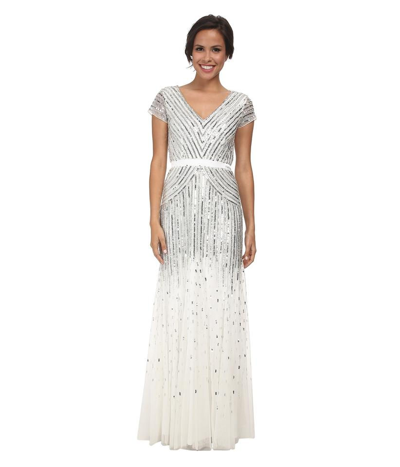 Adrianna Papell Ivory White Beaded Cap Sleeve Long Formal Dress Size ...