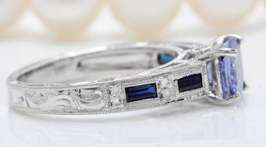 Other 1.15CTW Natural Blue Tanzanite and DIAMOND 14K Solid White Gold Ring