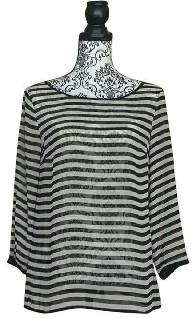Preload https://img-static.tradesy.com/item/22427877/ann-taylor-loft-black-and-cream-transparent-striped-blouse-size-6-s-0-3-650-650.jpg