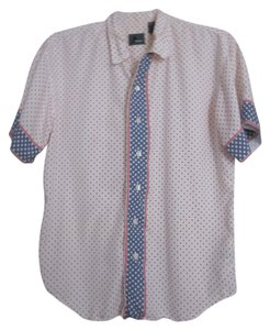 Liz Claiborne Top red/white/blue polka-dot