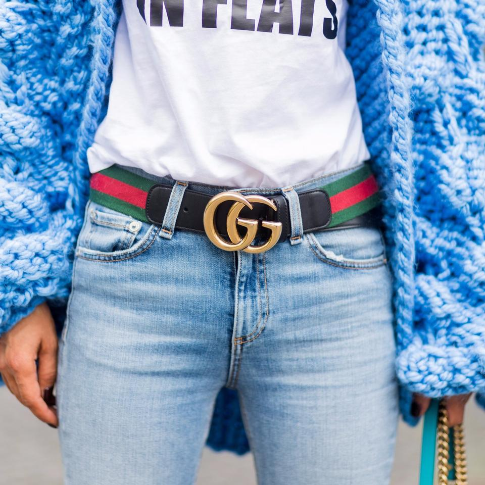 ba0f85f6e841 Gucci Unisex Web Belt with Double G Buckle Size 85 Image 9. 12345678910