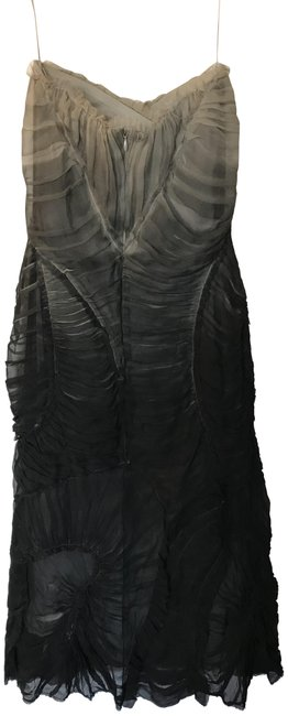 Item - Grey Ombre Strapless Ruffle Trim Evening Mid-length Cocktail Dress Size 6 (S)
