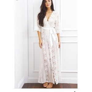 BHLDN Ivory Willow Lace Robe