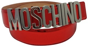 Moschino Red leather Moschino silver-tone letter charms belt XS