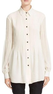 St. John Pleated Blouson Sleeves Oversized Luxe Preppy Button Down Shirt White