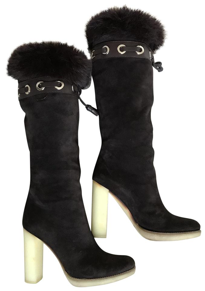 c6a8358d7ad7 Gucci Brown Suede Fur Trim Boots Booties Size EU 37.5 (Approx. US ...