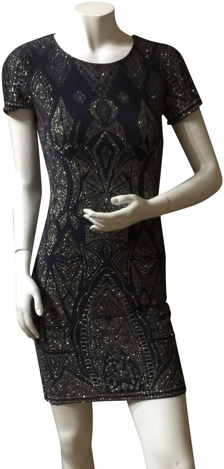e54e898c5cb Navy Blue & Silver With Stunning Detail Short Cocktail Dress Size 4 ...