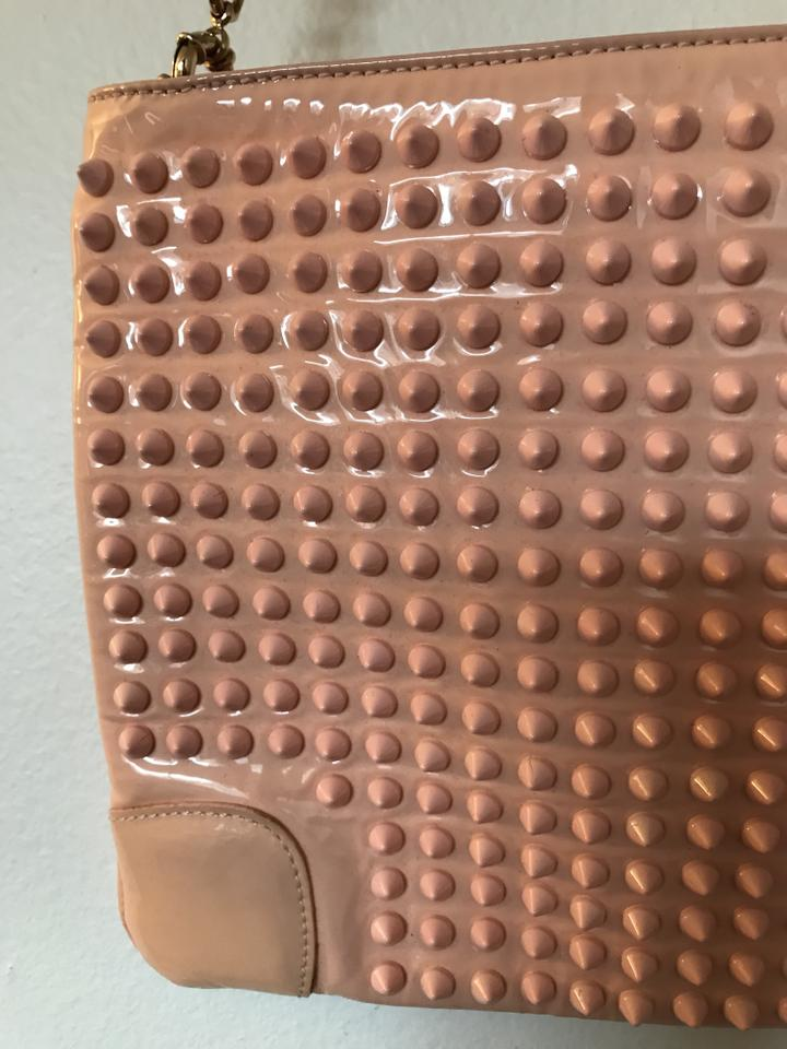 Blush Nude Loubiposh Louboutin Leather Spiked Christian Clutch wF8qPfz5t