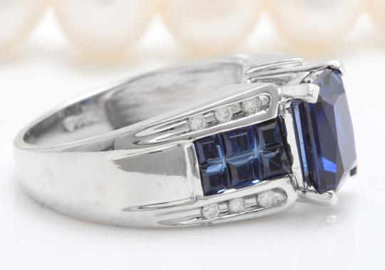 Other 4.02CTW SYNTHETIC Sapphire and Natural DIAMOND in 10K White Gold Ring