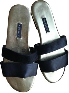 NewbarK Leather Calfhair Black and Gold Sandals