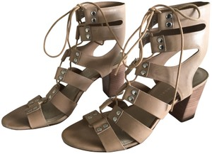 Loeffler Randall Lace Up Stacked Heel Leather Cage Beige Sandals