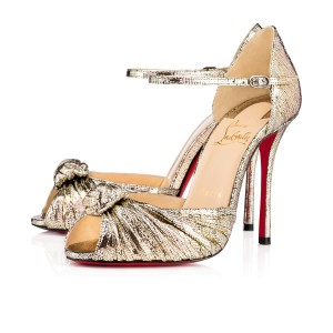 Christian Louboutin Marchavekel Metallic Red Sole Gold Sandals