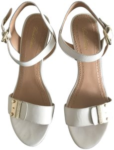 26e50f1f4 Brooks Brothers Strappy Gold Hardware Wooden Heel Comfortable white Sandals