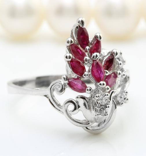 Other ANTIQUE 1.11CT Natural Red Ruby & DIAMOND in 14K Solid White Gold Ring