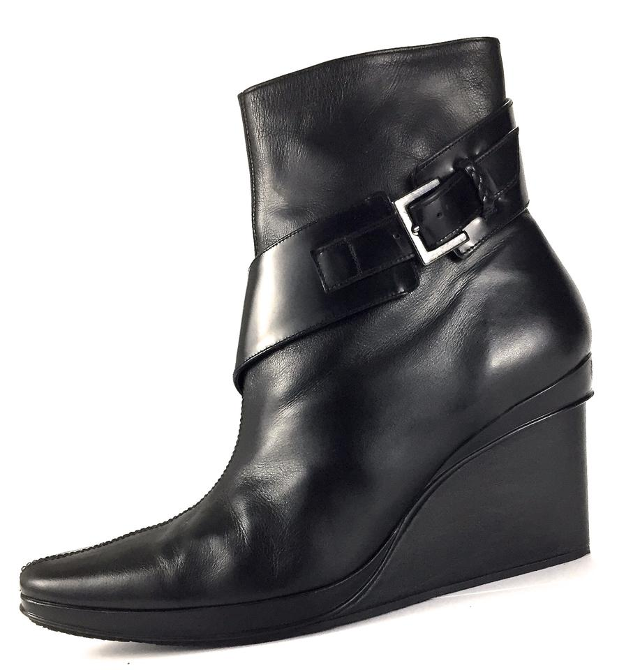 65936adaff1 Stephane Kelian Black Paris Made In France Leather Mid Stitched 3½ Wedge  Heel Ankle Boots Booties