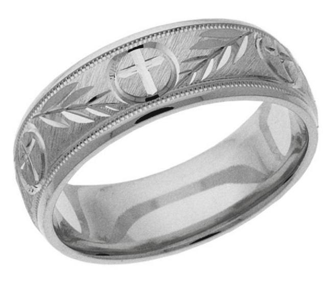 Item - Silver Christian Cross and Branch Band Ring