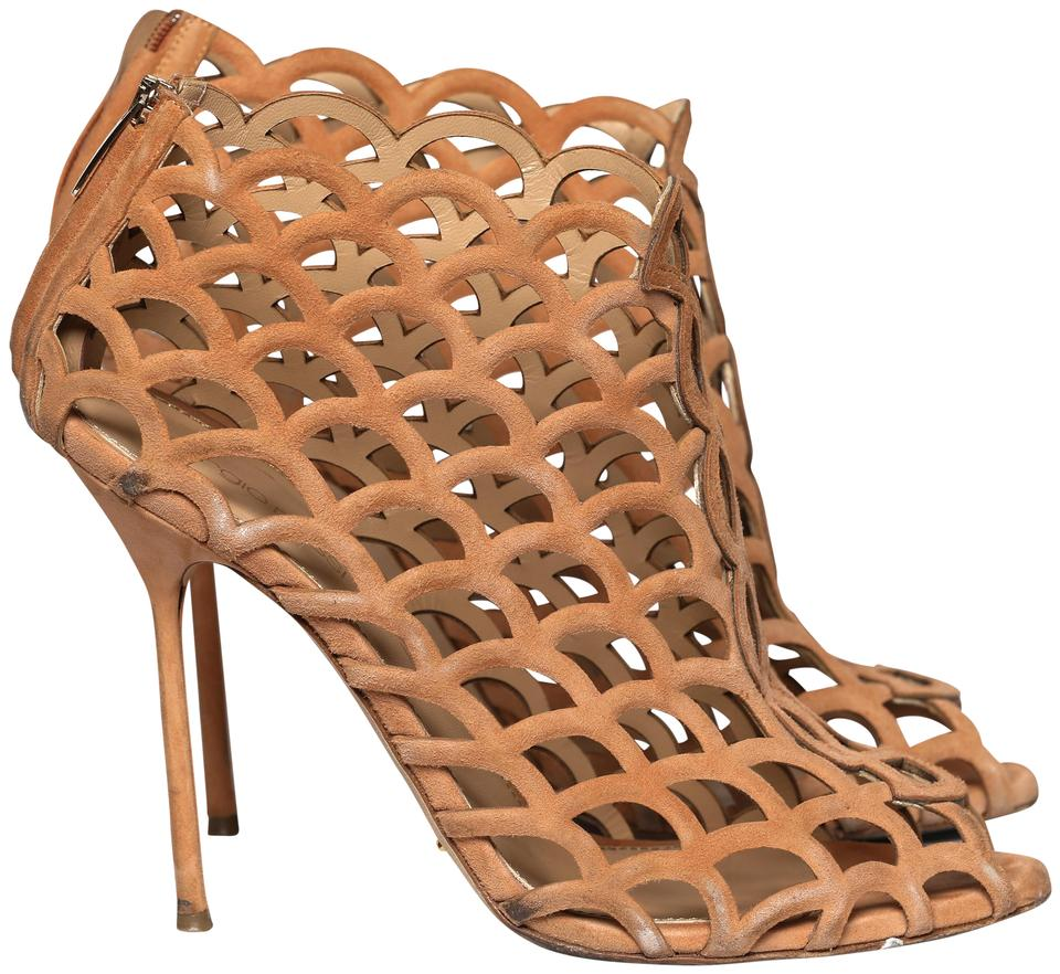 Sergio Rossi Apricot Scallop-cutout Ankle Sandals Boots Sandals Ankle 0fe517