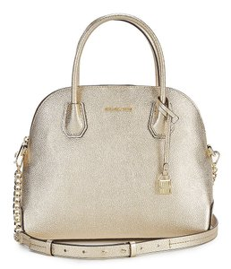 Michael Kors Dome Leather Satchel in Gold