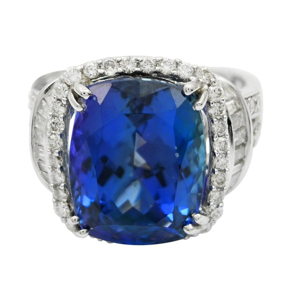 tanzanite products ring blue diamonds certified gia halo natural