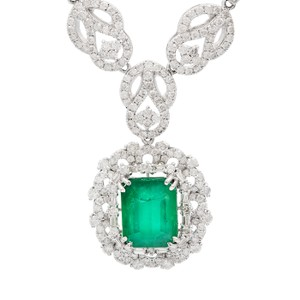 White Gold 8.64ct Emerald and 6.85ctw Diamond Necklace