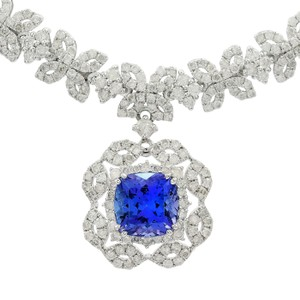 White Gold 4.33ct Tanzanite and 7.60ctw Diamond Necklace